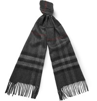Burberry Checked Cashmere Scarf Gray