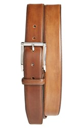Men's Santoni Leather Belt Beige