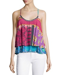 Plenty By Tracy Reese Embellished Patchwork Tank Multi