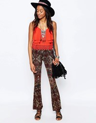 Glamorous Flare Trousers In Paisley Print Brown Paisley