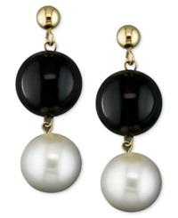 Macy's Cultured Freshwater Pearl 8 1 2Mm And Onyx 10Mm Drop Earrings In 14K Gold
