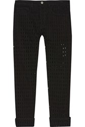 Isabel Marant Pierce Cutout Mid Rise Straight Leg Jeans Black