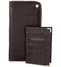 Aspinal Of London Zipped Travel Wallet And Passport Cover Amazon Brown