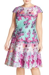 Plus Size Women's Adrianna Papell Print Fit And Flare Dress Dusty Mint