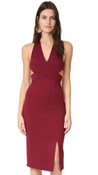 Nicholas Wrap Halter Dress Burgundy