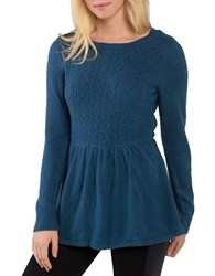 Kensie Warm Touch Cable Knit Crewneck Peplum Sweater Blue