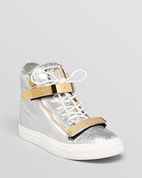 Giuseppe Zanotti Lace Up High Top Sneakers London May Silver