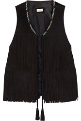 Talitha Fringed Embroidered Suede Vest
