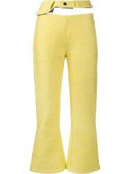 Faustine Steinmetz Cut Out Cropped Jeans Yellow Orange