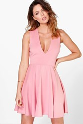 Boohoo Plunge Neck Full Skirt Skater Dress Peach