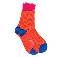 Thomas Pink Dixon Herringbone Socks Orange Pink