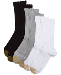 Gold Toe Women's Lacey Crew Socks Grey Heather White Black