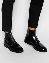 Asos Zip Boots In Black Leather With Wedge Sole