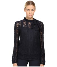 Red Valentino Jersey Lace Blouse Blue Women's Blouse