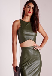 Missguided Faux Leather Crop Top Khaki Beige