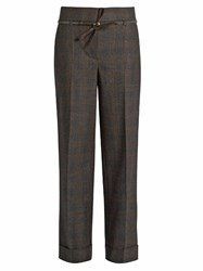 Brunello Cucinelli Prince Of Wales Checked Stretch Wool Trousers Dark Grey