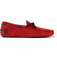 Tod's Ferrari Gommino Suede Driving Shoes Red