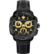 Versace Vqc020015 Dylos Steel And Leather Watch Black