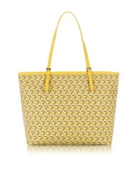 Lancaster Paris Ikon Coated Canvas And Leather Large Tote Bag Yellow