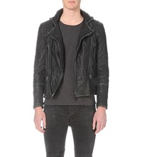 Allsaints Cargo Leather Biker Jacket Black Grey