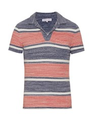 Orlebar Brown Terry Towelling Cotton Polo Shirt Blue Multi