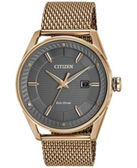 Citizen Men's Drive Rose Gold Tone Stainless Steel Mesh Bracelet Watch 42Mm Bm6983 51H