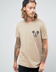 Asos T Shirt With Mickey Mouse Face Chest Print In Relaxed Skater Fit Silver Mink Beige
