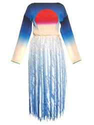 Marco De Vincenzo Sun Print And Fringed Georgette Dress Blue Multi