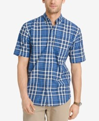 Izod Men's Plaid Short Sleeve Shirt Medium Blue