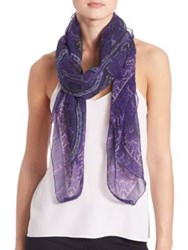 Etro Floral And Paisley Bombay Silk Blend Scarf Navy Purple