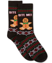 Charter Club Women's Bite Me Gingerbread Socks Only At Macy's Black