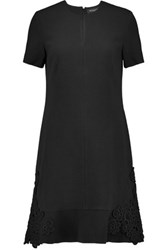 Pringle Of Scotland Appliqued Textured Stretch Wool Mini Dress Black