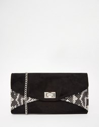 Carvela Snake Mix Envelope Clutch Bag Black