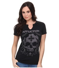 Affliction Sophia Skull Short Sleeve Western Tee Black Lava Wash Women's T Shirt