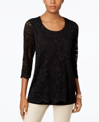 Jm Collection Lace Three Quarter Sleeve Top Only At Macy's Deep Black
