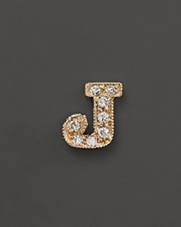 Zoe Chicco 14K Yellow Gold Pave Single Initial Stud Earring .04.06 Ct. T.W. J