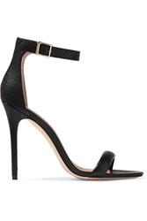 Halston Ester Snake Effect And Smooth Leather Sandals Black