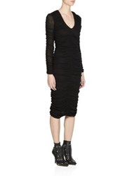 Givenchy Cotton Jersey Gathered Long Sleeve Dress Black