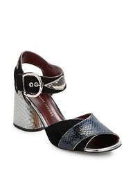 Marc By Marc Jacobs Cheryl Mixed Material Sandals Navy Blue