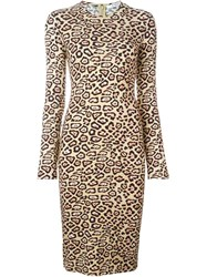 Givenchy Leopard Print Fitted Dress Nude And Neutrals