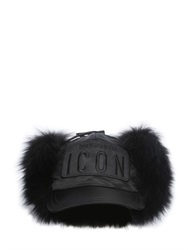 Dsquared2 Fox Fur And Nylon Baseball Hat