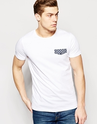 Jack And Jones Jack And Jones T Shirt With Geo Print Flap Detail White