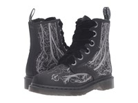 Dr. Martens 1460 Vena Boot Blood Vessel Silver Embroidery Black Satin 250D Women's Lace Up Casual Shoes