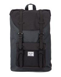 Herschel Grey And Black Little America Mid Volume Backpack With Leather Strap 17 L