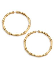 John Hardy Bamboo Medium 18K Yellow Gold Hoop Earrings 1.25