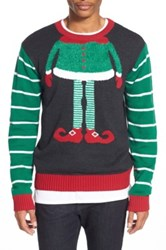The Rail 'Elf Face' Trim Fit Crewneck Sweater Green