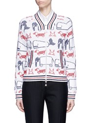 Thom Browne Hector And Toy Intarsia Knit Bomber Jacket Multi Colour