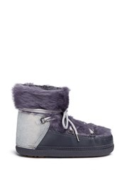 Inuikii Rabbit Fur Overlay Sheepskin Shearling Moon Boots Grey