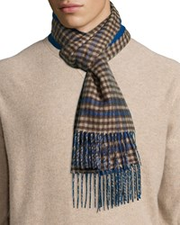 Johnstons Reversible Gingham Solid Cashmere Scarf Blue