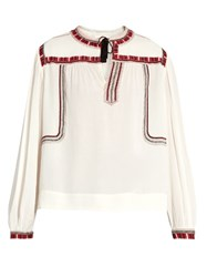 Etoile Isabel Marant Cabella Embroidered Peasant Blouse Ivory Multi